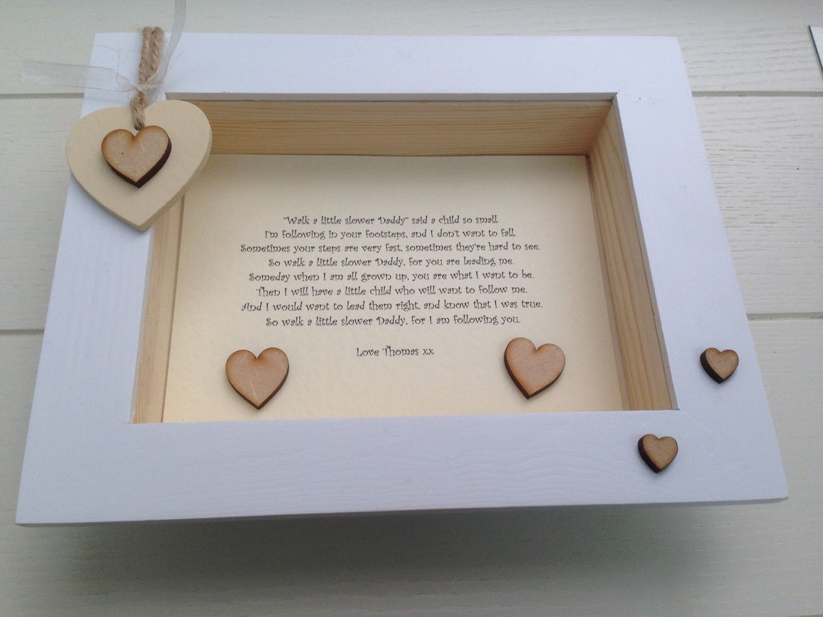 shabby personalised chic box frame daddy dad special gift from his